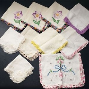 Vintage Hankie Lot of 10 Embroidered Floral Print